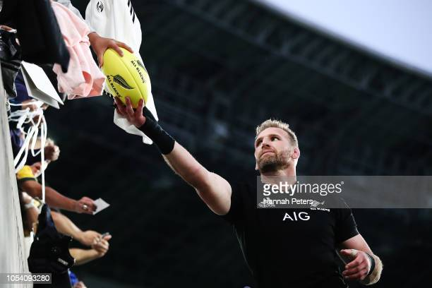 Kieran Read of the All Blacks signs autographs after winning the Bledisloe Cup test match between the New Zealand All Blacks and Australian Wallabies...