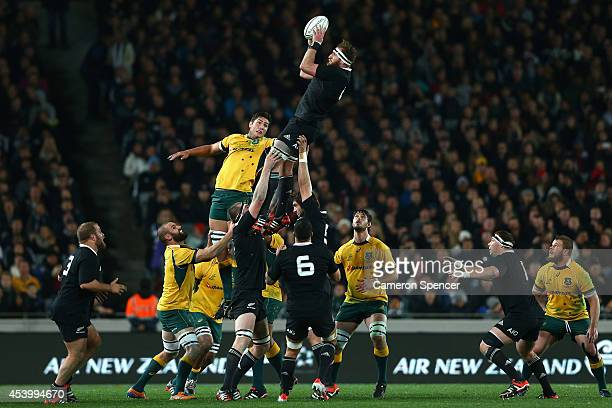 Kieran Read of the All Blacks takes a lineout ball during The Rugby Championship match between the New Zealand All Blacks and the Australian...