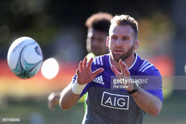 Kieran Read of the All Blacks takes a pass during a New Zealand All Blacks training session at Dillworth College on June 2 2016 in Auckland New...