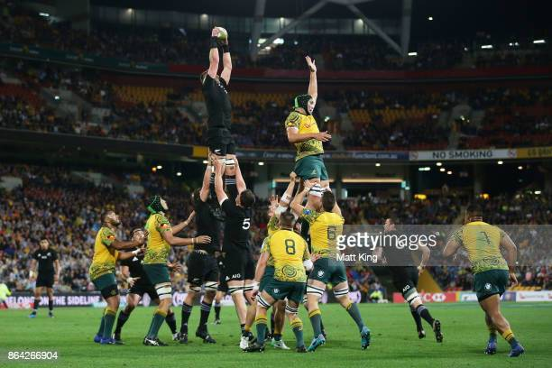 Kieran Read of the All Blacks takes the ball at the lineout during the Bledisloe Cup match between the Australian Wallabies and the New Zealand All...