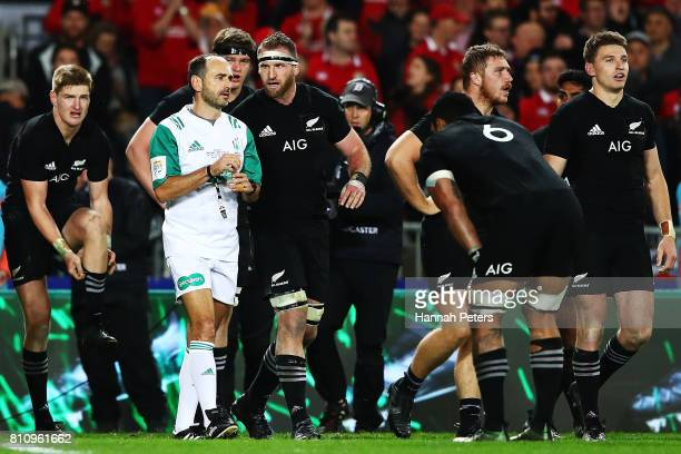 Kieran Read of the All Blacks talks to referee Romain Poite after the final whistle during the Test match between the New Zealand All Blacks and the...