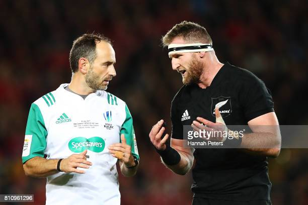 Kieran Read of the All Blacks talks to referee Romain Poite during the Test match between the New Zealand All Blacks and the British Irish Lions at...