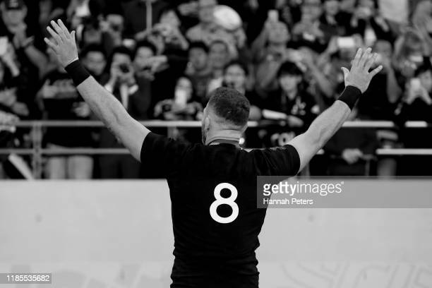 Kieran Read of the All Blacks thanks the crowd after winning the Rugby World Cup 2019 Bronze Final match between New Zealand and Wales at Tokyo...