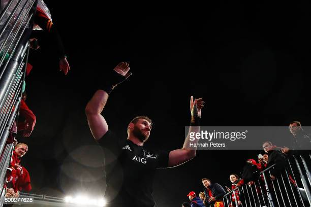 Kieran Read of the All Blacks thanks the crowd after winning the Test match between the New Zealand All Blacks and the British Irish Lions at Eden...