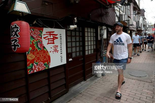 Kieran Read of the All Blacks walks through the streets of Beepu on September 29, 2019 in Beppu, Oita, Japan.