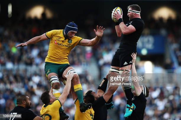 Kieran Read of the All Blacks wins lineout ball during the Bledisloe Cup test match between the New Zealand All Blacks and Australian Wallabies at...
