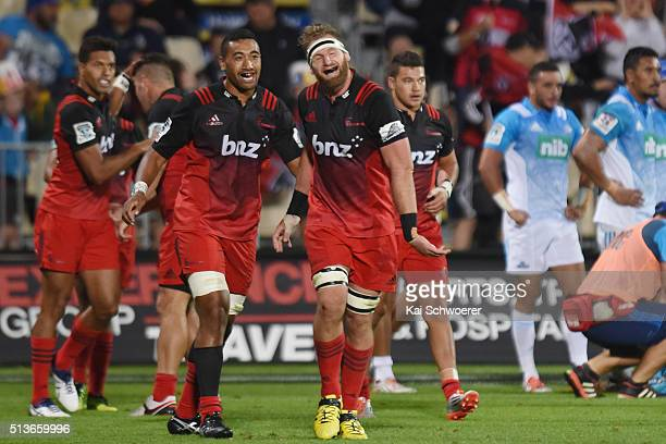 Kieran Read of the Crusaders celebrates scoring a try during the round two Super Rugby match between the Crusaders and the Blues at AMI Stadium on...