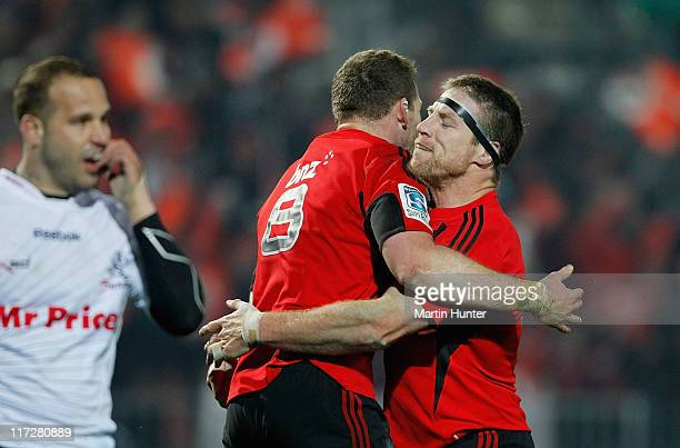 Kieran Read of the Crusaders celebrates with Brad Thorn after scoring a try during the Super Rugby qualifier match between the Crusaders and the...