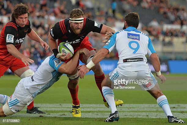 Kieran Read of the Crusaders charges forward during the round two Super Rugby match between the Crusaders and the Blues at AMI Stadium on March 4...