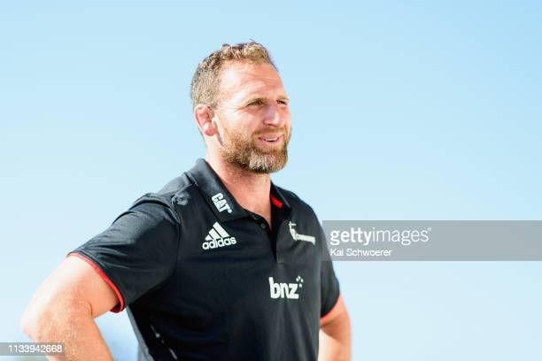 Kieran Read of the Crusaders looks on following a media opportunity at Rugby Park on March 06 2019 in Christchurch New Zealand The All Blacks captain...