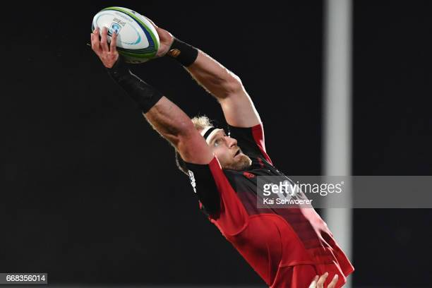 Kieran Read of the Crusaders wins a lineout during the round eight Super Rugby match between the Crusaders and the Sunwolves at AMI Stadium on April...