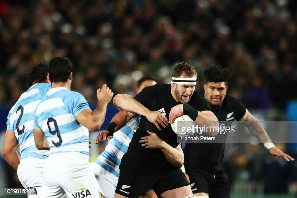 Kieran Read of the New Zealand All Blacks charges forward during The Rugby Championship match between the New Zealand All Blacks and Argentina at...