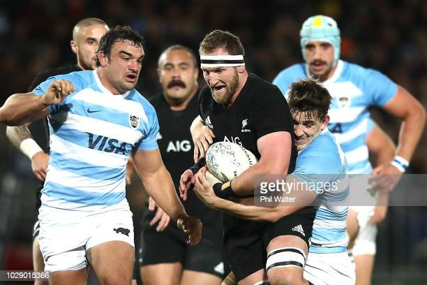 Kieran Read of the New Zealand All Blacks is tackled during The Rugby Championship match between the New Zealand All Blacks and Argentina at...