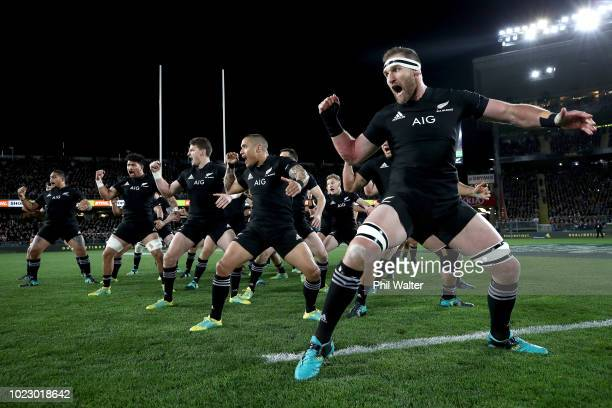 Kieran Read of the New Zealand All Blacks leads the haka during The Rugby Championship game between the New Zealand All Blacks and the Australia...