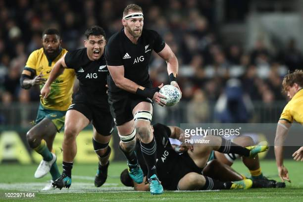 Kieran Read of the New Zealand All Blacks makes a break during The Rugby Championship game between the New Zealand All Blacks and the Australia...