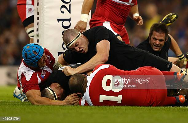 Kieran Read of the New Zealand All Blacks scores their fifth try during the 2015 Rugby World Cup Pool C match between New Zealand and Georgia at the...