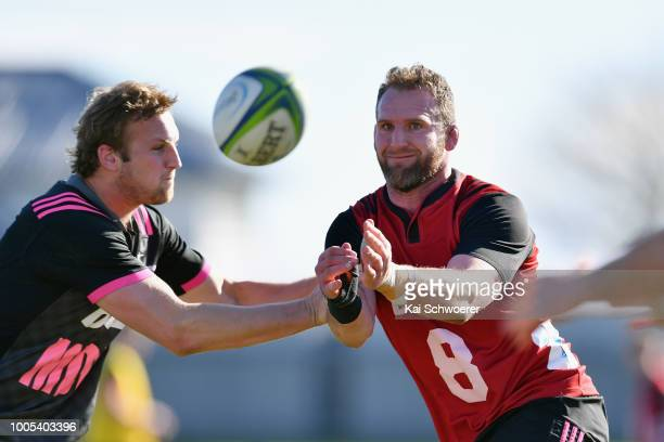 Kieran Read passes the ball during a Crusaders Super Rugby training session at Rugby Park on July 26 2018 in Christchurch New Zealand