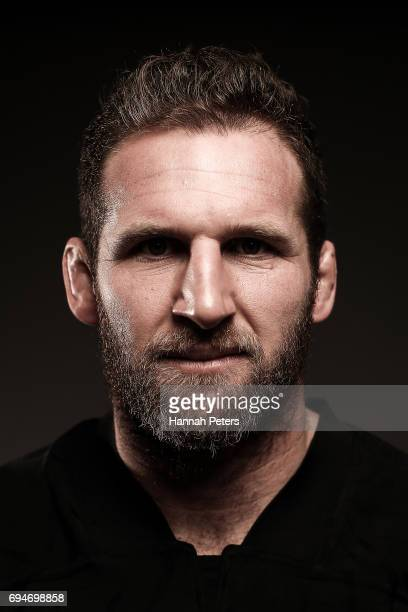 Kieran Read poses for a portrait during the New Zealand All Blacks Headshots Session on June 11 2017 in Auckland New Zealand