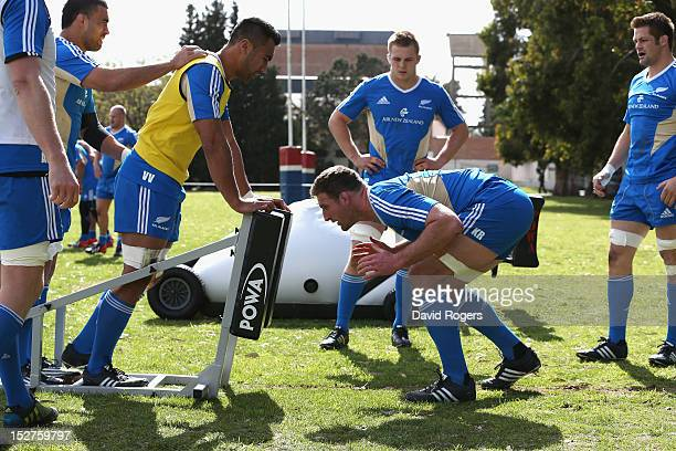 Kieran Read practices his scrummaging technique during a New Zealand All Blacks training session held at St George's College on September 25 2012 in...
