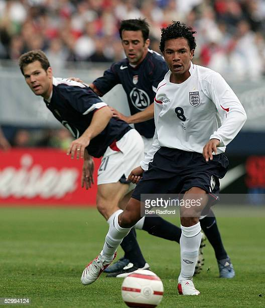 Kieran Richardson of England and Greg Vanney and Kerry Zavagnin of USA during the USA v England friendly match on May 28 2005 at Soldier Field in...