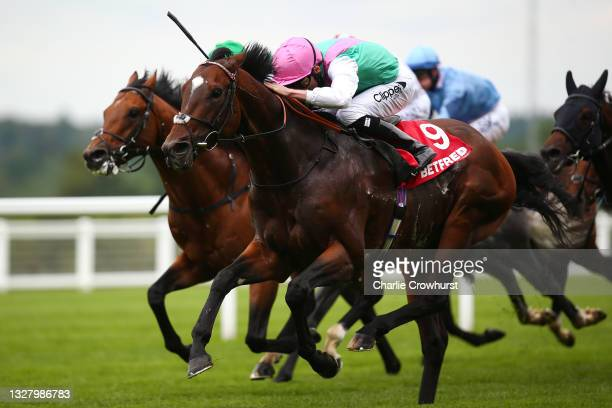 Kieran Shoemark rides Tilsit to win The Betfred summer mile stakes at Ascot Racecourse on July 10, 2021 in Ascot, England.