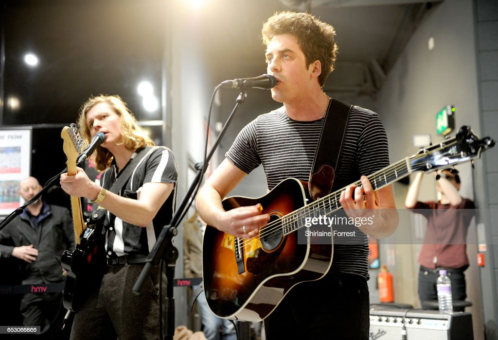 Kieran Shudall and Joe Falconer of Circa Waves perform instore and sign copies of their new album 'Different Creatures' at HMV Liverpool One on March 13, 2017 in Liverpool, United Kingdom.