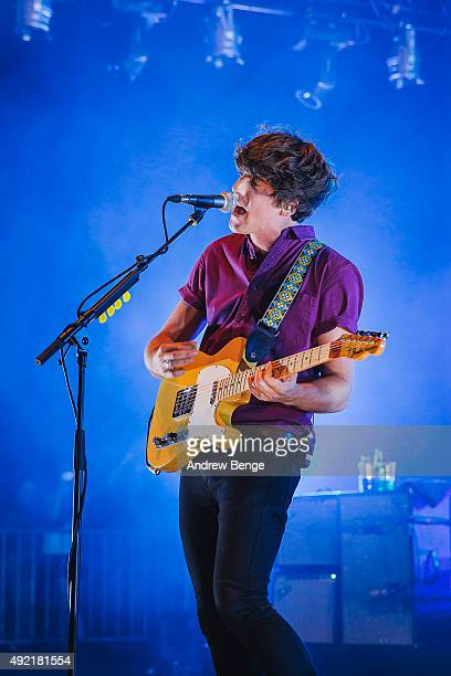 Kieran Shudall of Circa Waves performs on stage at O2 Academy Brixton on October 10 2015 in London England