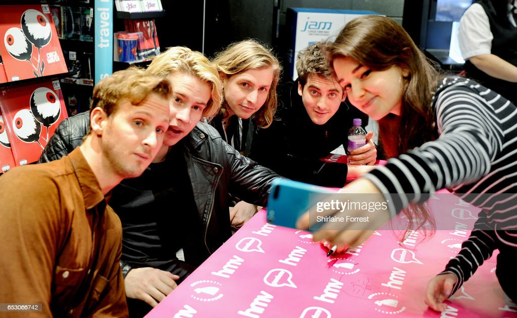 Kieran Shudall, Sam Rourke, Colin Jones and Joe Falconer of Circa Waves perform instore and sign copies of their new album 'Different Creatures' at HMV Liverpool One on March 13, 2017 in Liverpool, United Kingdom.