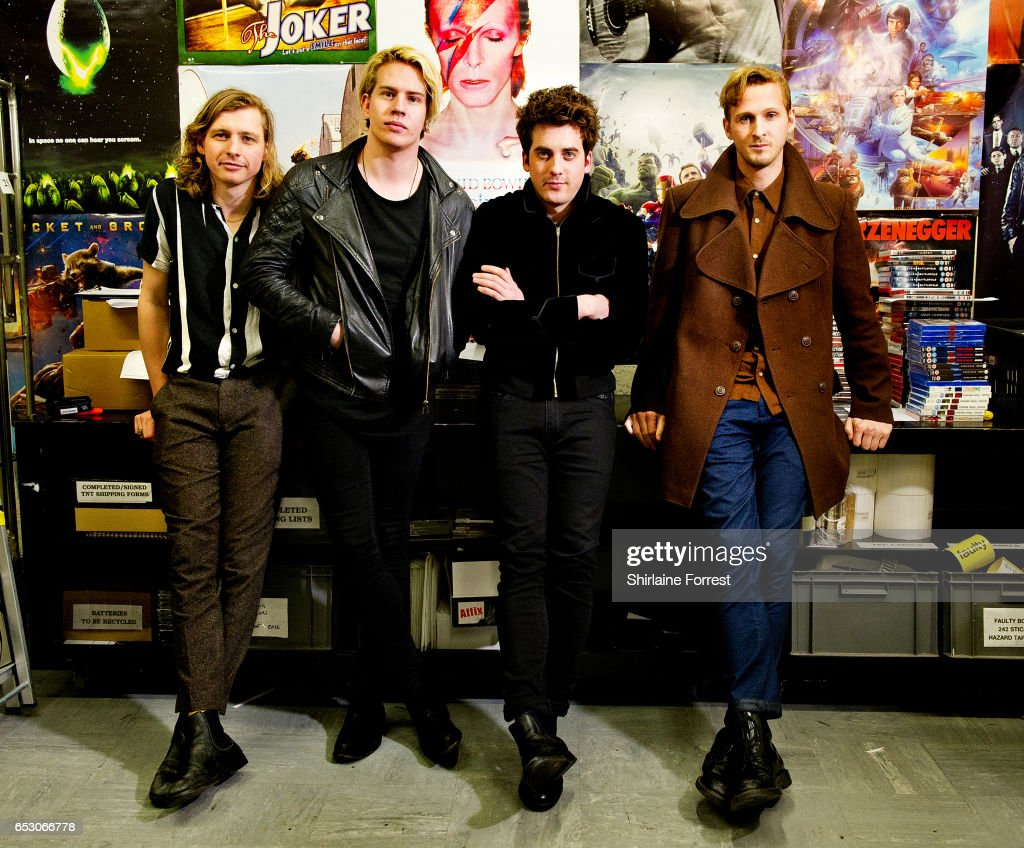 Kieran Shudall, Sam Rourke, Colin Jones and Joe Falconer of Circa Waves pose backstage after performing instore and signing copies of their new album 'Different Creatures' at HMV Liverpool One on March 13, 2017 in Liverpool, United Kingdom.