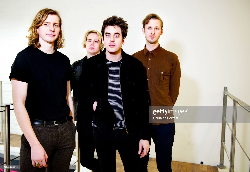 Kieran Shudall, Sam Rourke, Colin Jones and Joe Falconer of Circa Waves pose backstage after performing instore and signing copies of their new album 'Different creatures' at HMV Manchester on March 13, 2017 in Manchester, United Kingdom.