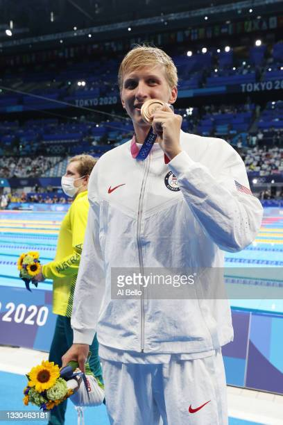 Kieran Smith of Team United States poses with the bronze medal for the Men's 400m Freestyle Final on day two of the Tokyo 2020 Olympic Games at Tokyo...