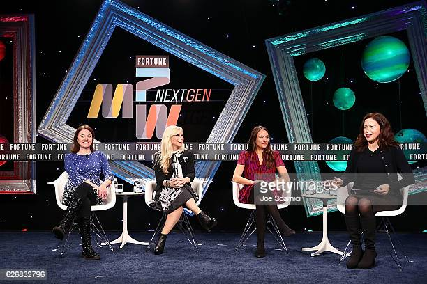 Kieran Synder Ashley Eckstein Natalya Brikner and Michal LevRam speak onstage during the Entrepreneurship 2016 Tales From the Trenches session at...