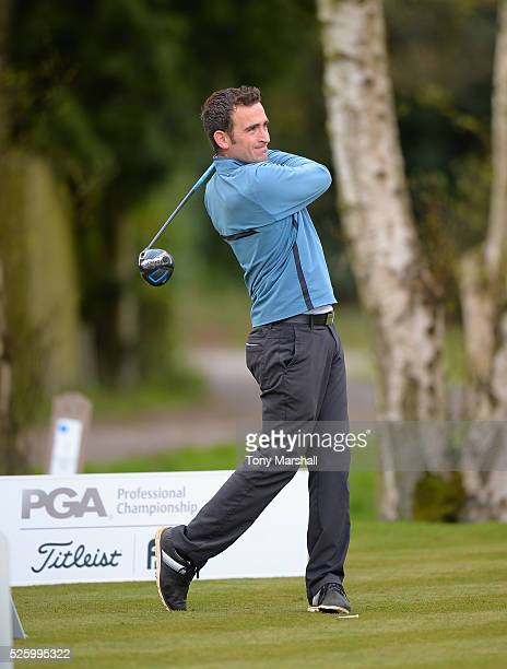 Kieran Thomas of Brampton Heath Golf Centre plays his first shot on the 1st tee during the PGA Professional Championship Midland Qualifier at Little...