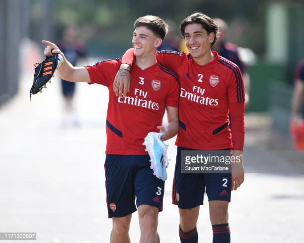 Kieran Tierney and Hector Bellerin of Arsenal after a training session at London Colney on August 31 2019 in St Albans England