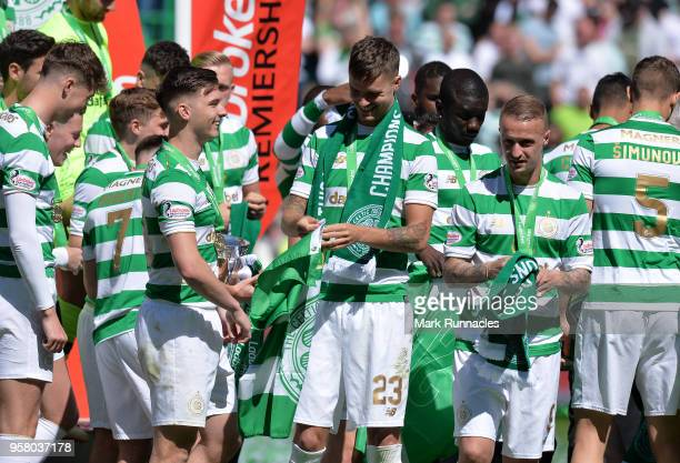 Kieran Tierney and Mikael Lustig of Celtic celebrates as Celtic win the Ladbrokes Scottish Premier League during the Scottish Premier League match...
