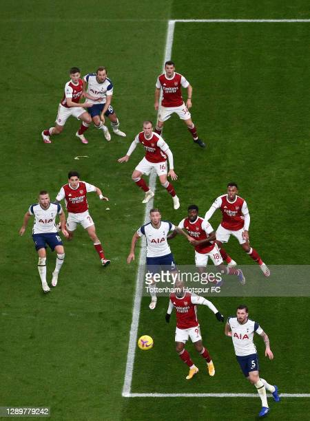 Kieran Tierney, Granit Xhaka, Rob Holding, Hector Bellerin, Thomas Partey, Gabriel and Alexandre Lacazette of Arsenal position themselves to defend...