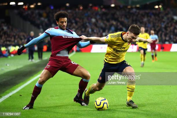 Kieran Tierney of Arsenal and Felipe Anderson of West Ham United in action during the Premier League match between West Ham United and Arsenal FC at...