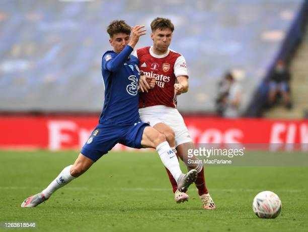 Kieran Tierney of Arsenal challenged by Mason Mount of Chelsea during the FA Cup Final match between Arsenal and Chelsea at Wembley Stadium on August...
