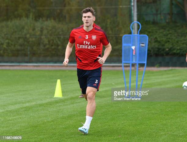 Kieran Tierney of Arsenal during a training session at London Colney on August 15 2019 in St Albans England