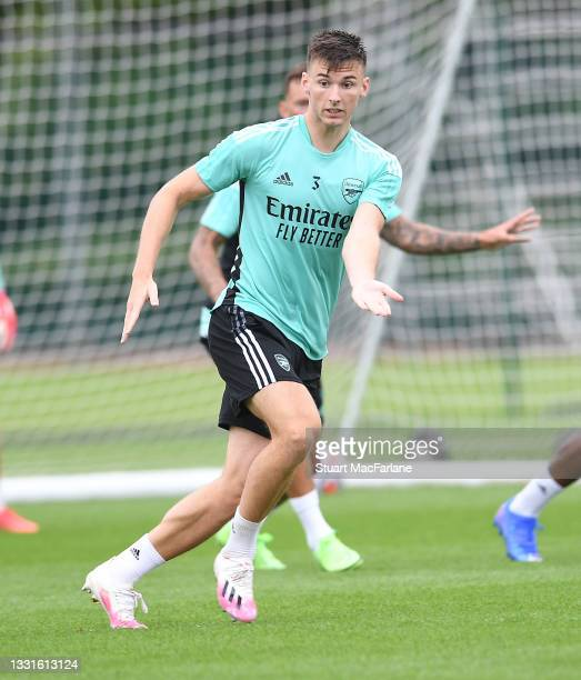 Kieran Tierney of Arsenal during a training session at London Colney on July 30, 2021 in St Albans, England.