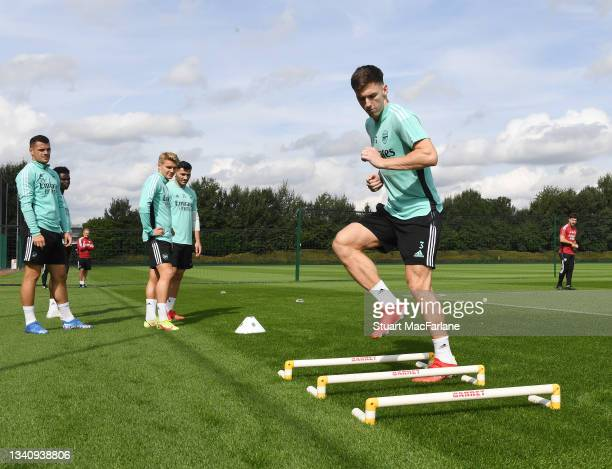 Kieran Tierney of Arsenal during a training session at London Colney on September 17, 2021 in St Albans, England.