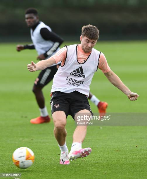 Kieran Tierney of Arsenal during the Arsenal training session ahead of the UEFA Europa League Group B stage match between Arsenal FC and Dundalk FC...