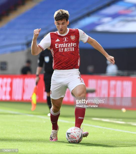 Kieran Tierney of Arsenal during the FA Cup Final match between Arsenal and Chelsea at Wembley Stadium on August 01 2020 in London England Football...