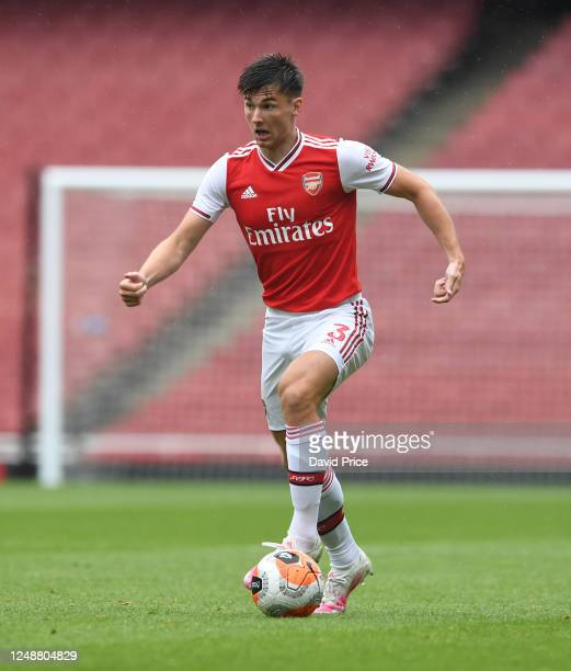 Kieran Tierney of Arsenal during the friendly match between Arsenal and Brentford at Emirates Stadium on June 10 2020 in London England