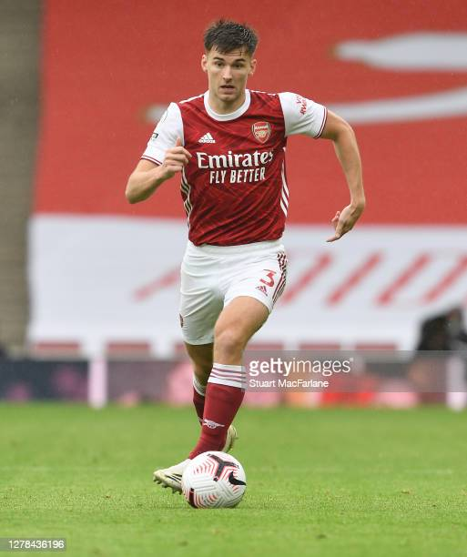 Kieran Tierney of Arsenal during the Premier League match between Arsenal and Sheffield United at Emirates Stadium on October 04 2020 in London...