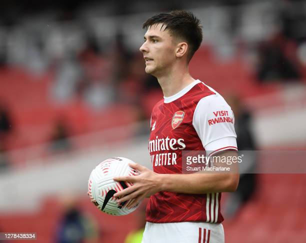 Kieran Tierney of Arsenal during the Premier League match between Arsenal and Sheffield United at Emirates Stadium on October 04, 2020 in London,...