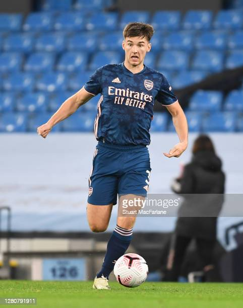 Kieran Tierney of Arsenal during the Premier League match between Manchester City and Arsenal at Etihad Stadium on October 17 2020 in Manchester...