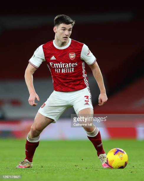 Kieran Tierney of Arsenal during the Premier League match between Arsenal and Newcastle United at Emirates Stadium on January 18, 2021 in London,...