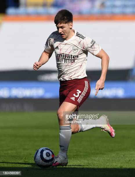 Kieran Tierney of Arsenal during the Premier League match between Leicester City and Arsenal at The King Power Stadium on February 28, 2021 in...