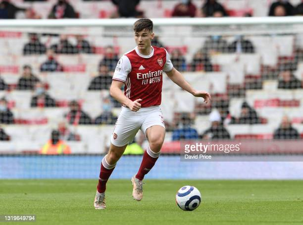 Kieran Tierney of Arsenal during the Premier League match between Arsenal and Brighton & Hove Albion at Emirates Stadium on May 23, 2021 in London,...